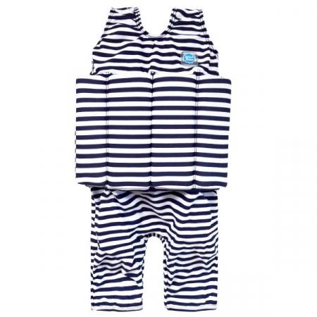 Costum înot plutitor baieti - Short John Floatsuit Dungi Marine0
