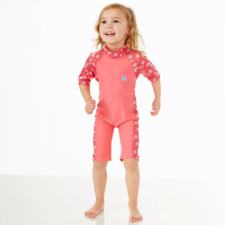 Costum protecție UV copii - Toddler UV Sunsuit Flori Rozalii1