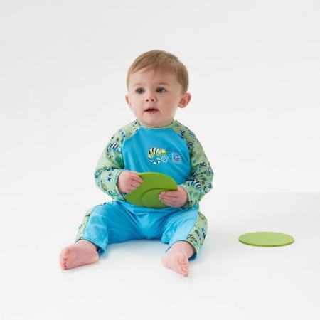 Costum protecție UV bebeluşi - UV All In One Gegoşii Verzi2