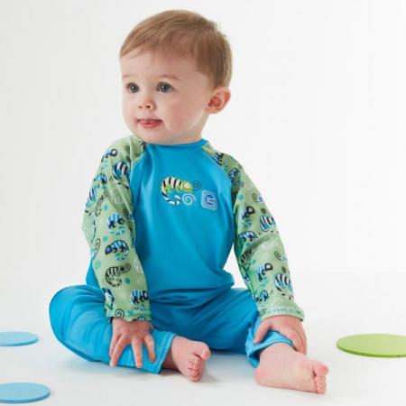 Costum protecție UV bebeluşi - UV All In One Gegoşii Verzi4