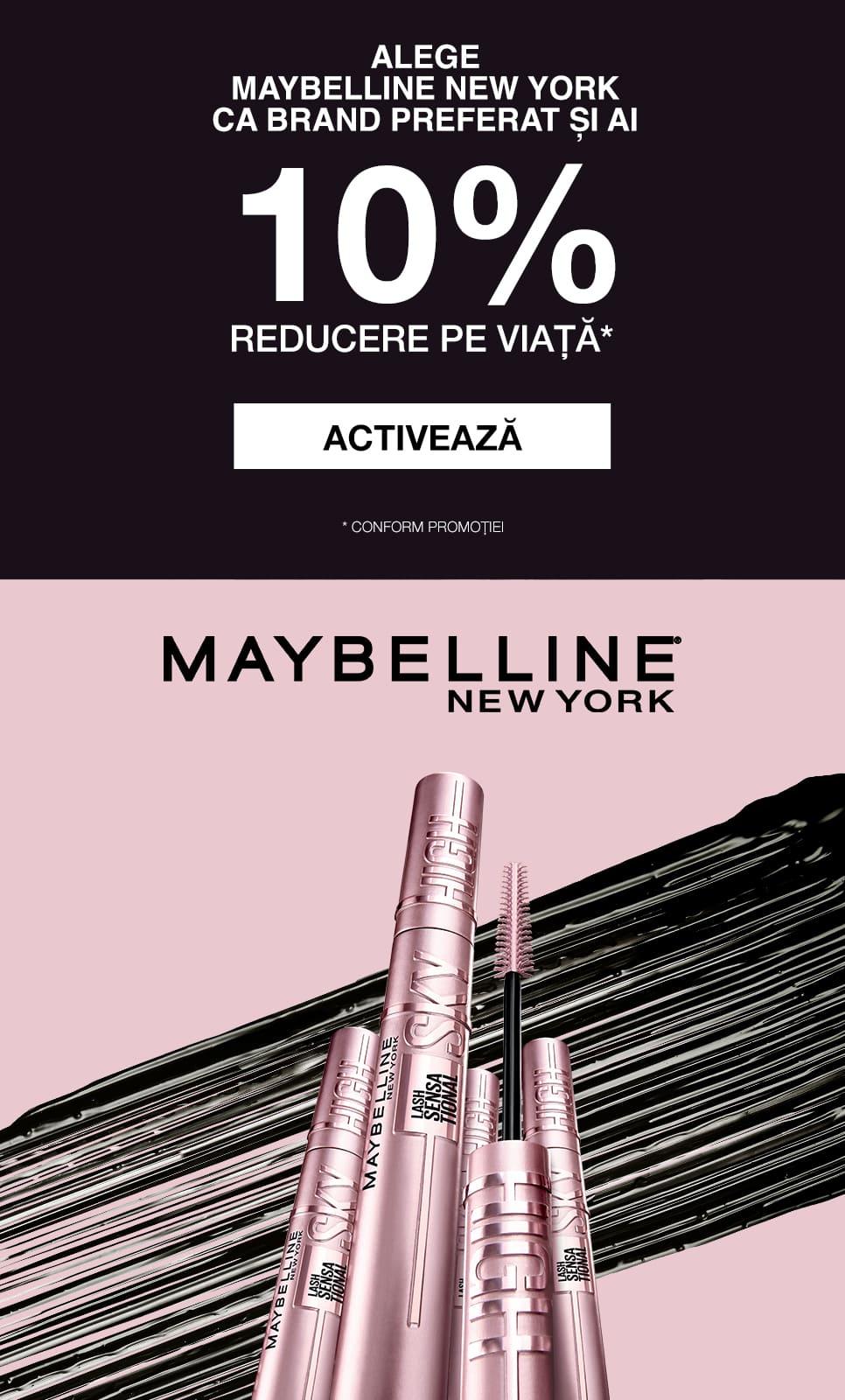 Activeaza 10% reducere pe viata la brandul Maybelline