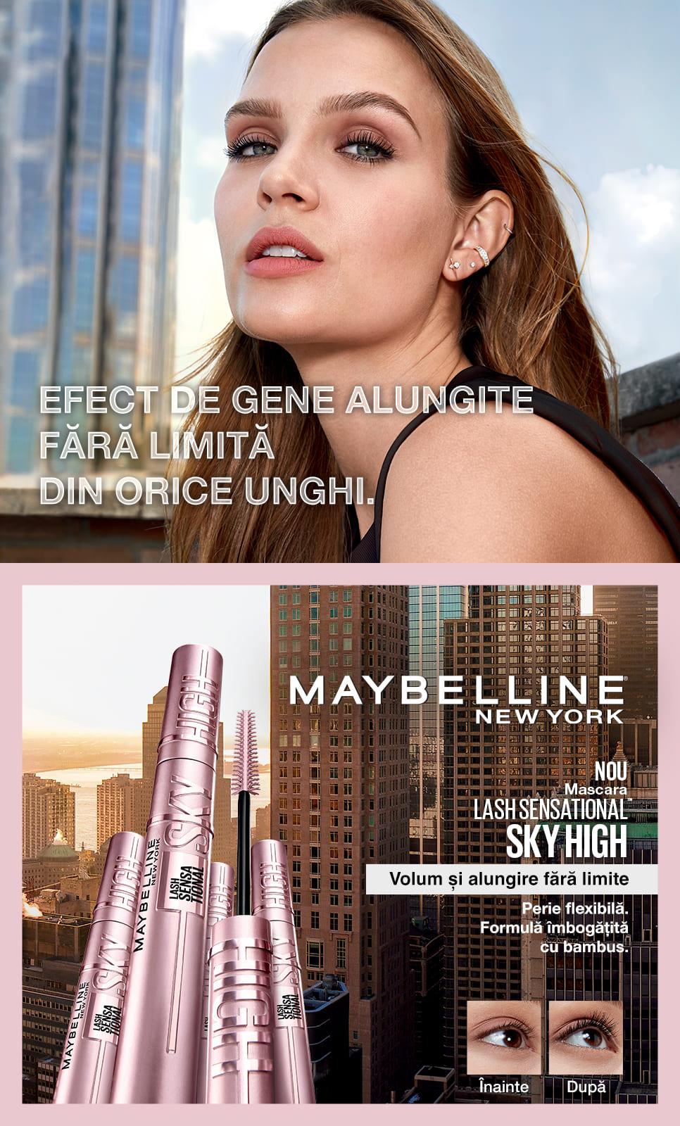 Descopera mascara Lash Sensational Sky High cu efect de gene alungite fara limita din orice unghi.
