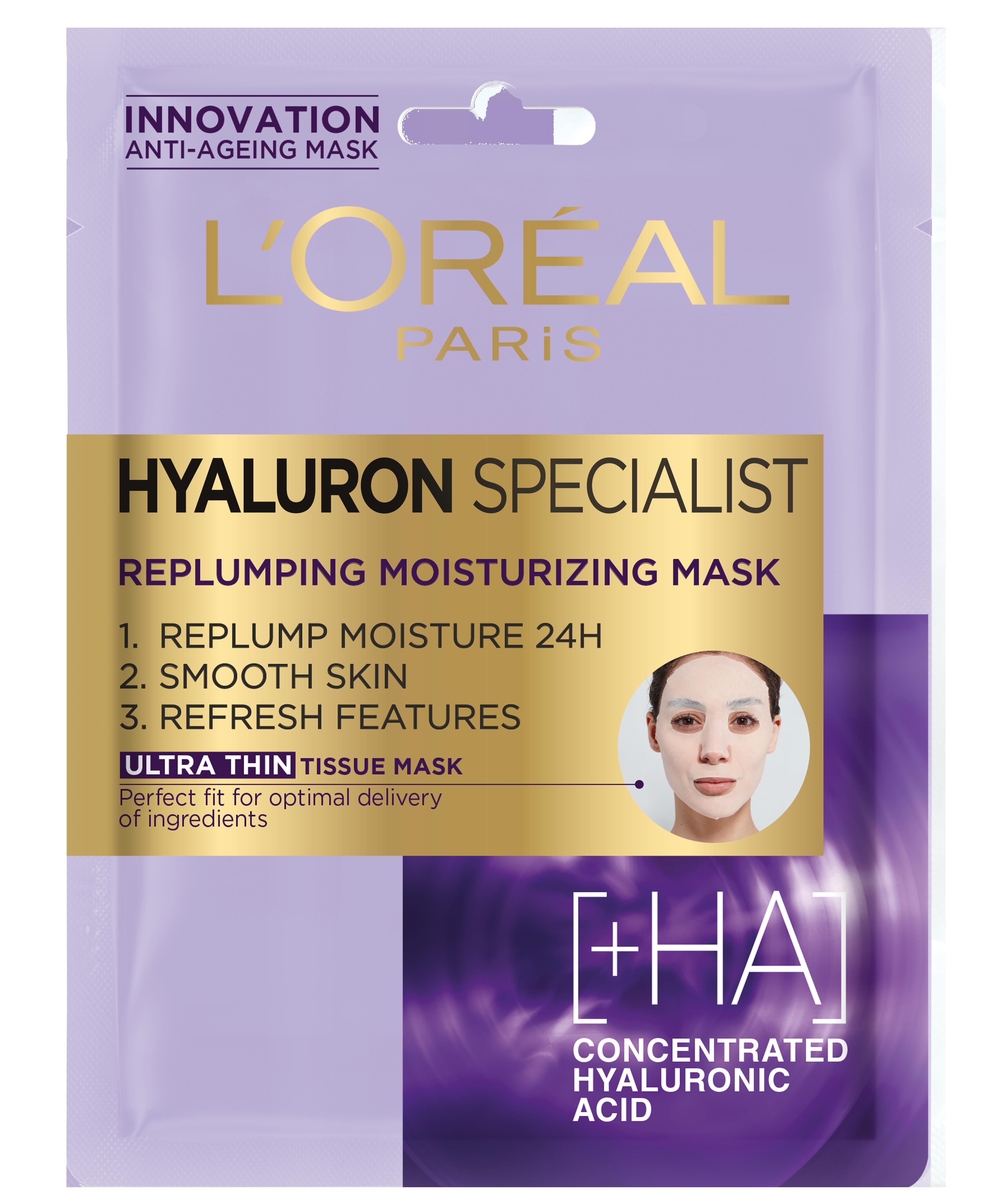 Masca servetel hidratanta pentru volumul tenului L`Oreal Paris Hyaluron Specialist  cu efect antirid