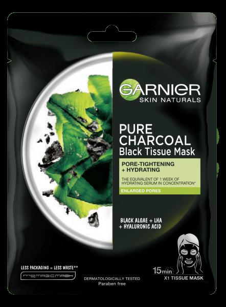 Masca servetel cu alge negre pentru purificare, Pure Charcoal Skin Naturals - 28 g 0