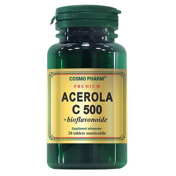 Acerola C 500 mg + bioflavonoide, Cosmo Pharm, 20 tablete masticabile 0