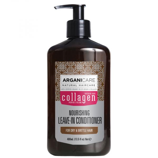 Balsam pentru par subtire, deteriorat si fragil, fara clatire, Arganicare Colagen, 400 ml 0