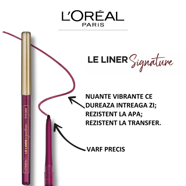 Creion de ochi L`Oreal Paris Liner Signature 10 Rose Latex 13