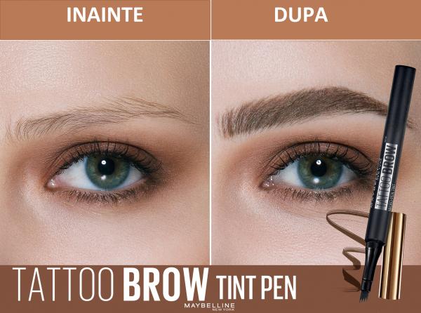 Creion de sprancene cu varf tip carioca Brow Tattoo Micro Pen Tint,130 Deep Brown 5