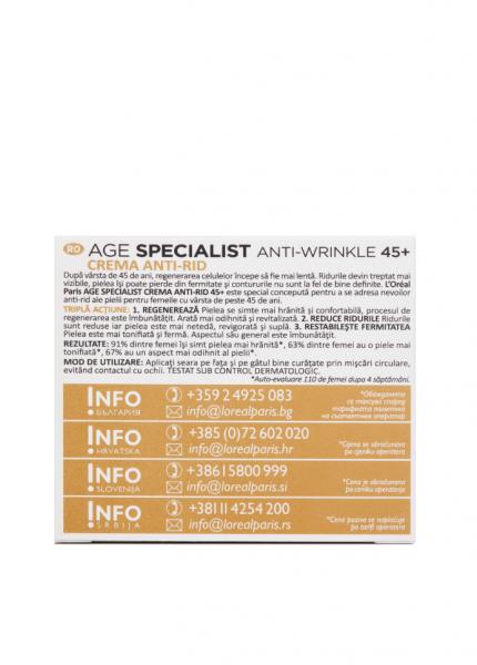 Crema antirid de noapte L'Oreal Paris Age Specialist 45+ , 50 ml [3]