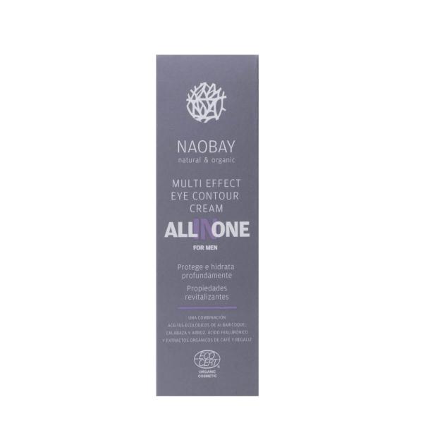 Crema contur de ochi BIO revitalizanta cu acid hialuronic pentru barbati All In One Naobay 15 ml 2