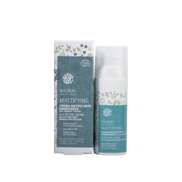 Crema de fata hidratanta BIO matifianta pentru ten gras si predispus la acnee Naobay 50 ml 1
