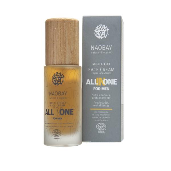 Crema de fata pentru barbati BIO hidratanta si antioxidanta cu acid hialuronic All In One Naobay 50 ml 1