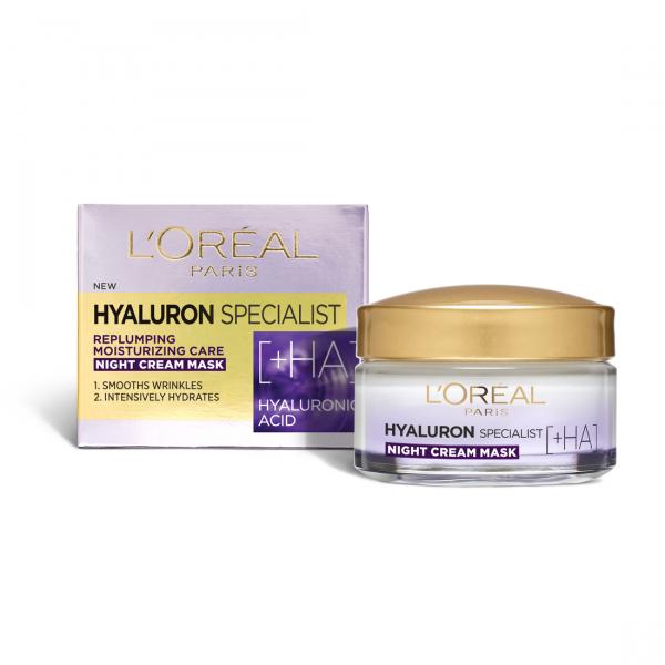 SET 1+1 GRATUIT Crema de noapte antirid hidratanta, L`Oreal Paris Hyaluron Specialist, pentru volumul tenului 0