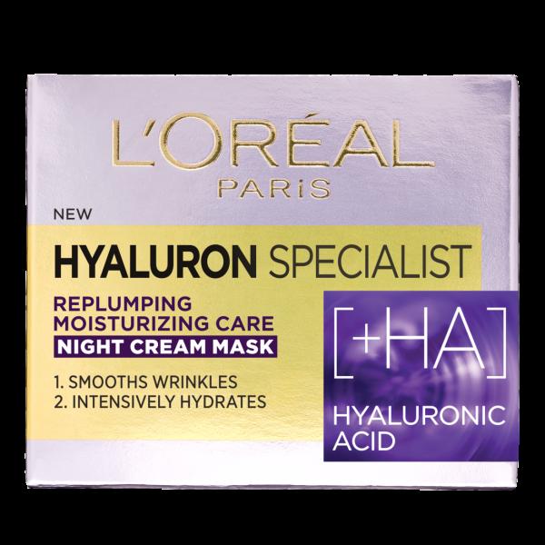 SET 1+1 GRATUIT Crema de noapte antirid hidratanta, L`Oreal Paris Hyaluron Specialist, pentru volumul tenului 1