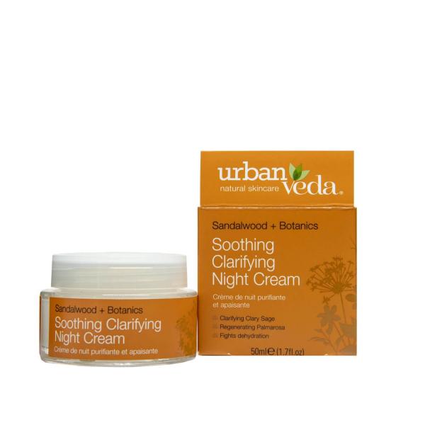 Crema hidratanta de noapte cu extract de lemn de santal organic   ten sensibil Soothing   Urban Veda 50 ml 1