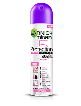 Deodorant antiperspirant spray Garnier Mineral Protection 6 Cotton Fresh, pentru femei 150ml 0