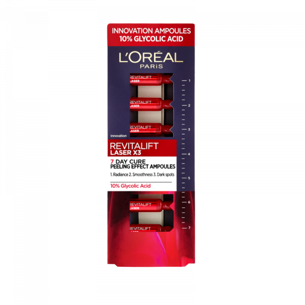 Fiole cu acid glicolic 10% L`Oreal Paris Revitalift Laser, 7 x 1ml 0