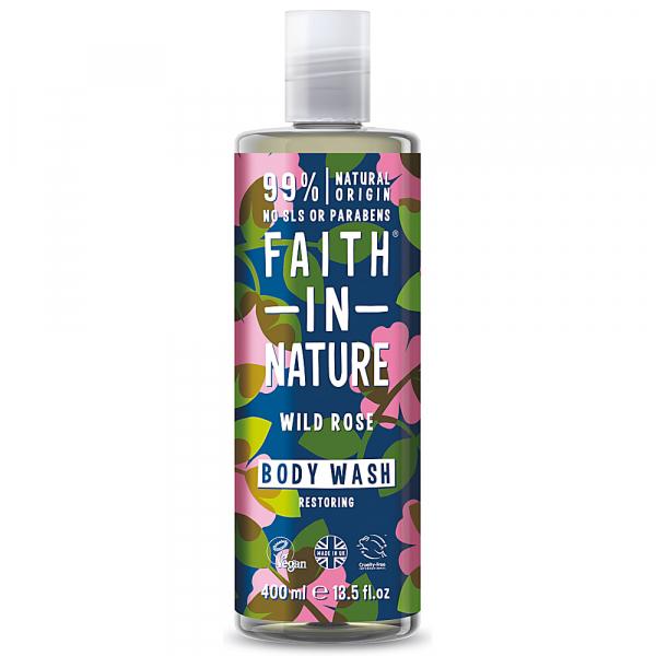 Gel de dus natural, hidratant, cu trandafir salbatic, Faith in Nature, 400 ml 0