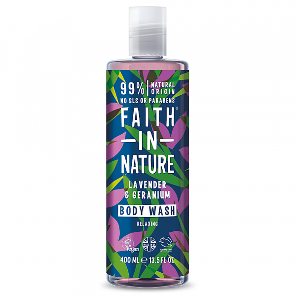 Gel de dus natural, relaxant, cu lavanda si muscata, Faith in Nature, 400ml 0