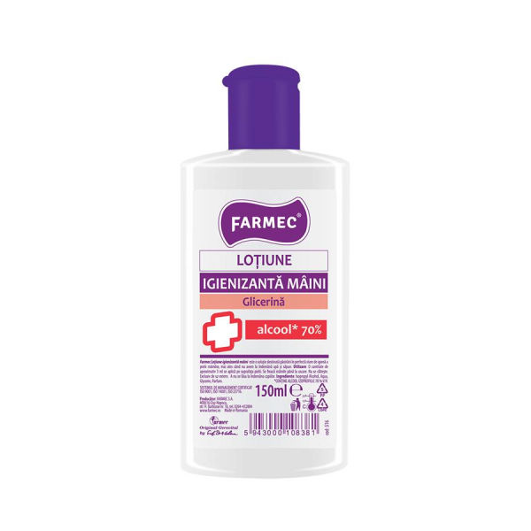 Lotiune dezinfectanta Farmec pentru maini, cu 70% alcool, efect antibacterian, 150 ml [0]