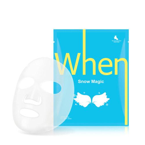 SET de 4 masti coreene faciale servetel din bioceluloza WHEN,  iluminatoare, cu niacinamida si aloe vera, 23 ml 2