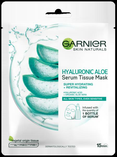 Set 20x Masca servetel cu aloe vera si acid hialuronic Garnier pentru super hidratare si revitalizare, 28g [1]