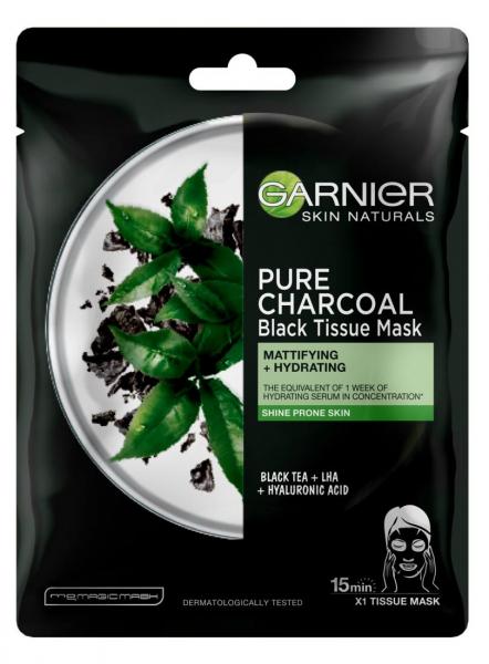 Pachet 5x Masca servetel Garnier Pure Charcoal cu ceai negru, pentru matifiere 1