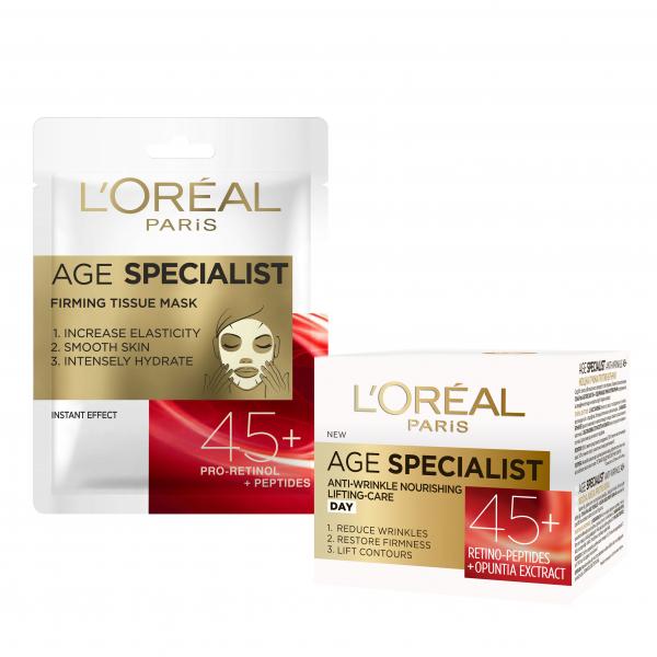 Set L'Oreal Paris Crema de zi Age Specialist 45+, 50 ml + Masca servetel Age Specialist 45+ pentru fermitate [0]