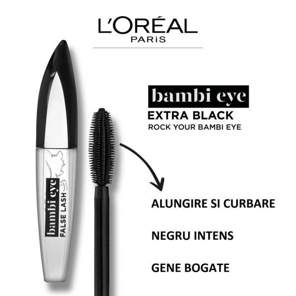 Mascara L`Oreal Paris Bambi cu efect de gene false, extra black 8,9ml 2