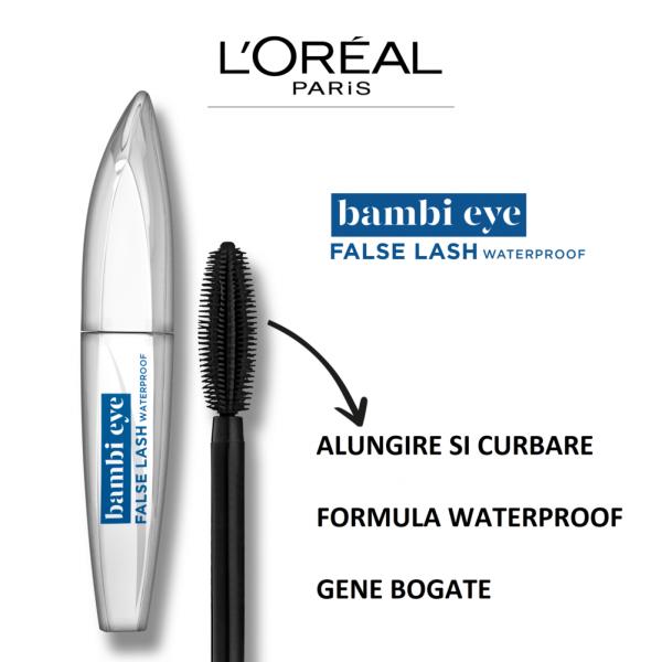 Mascara L`Oreal Paris Bambi cu efect de gene false, waterproof 8,9ml 2