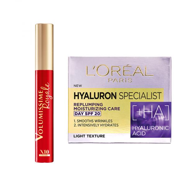 Set L'Oreal Paris Mascara Volumissime Royale Black, 7.9 ml + Hyaluron Specialist cu acid hialuronic: Crema antirid de zi, 50 ml + Crema antirid de noapte, 50 ml [0]