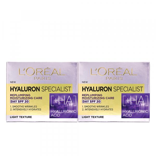 Set 2x Crema de zi antirid hidratanta Hyaluron Specialist, pentru volumul tenului, SPF 20 [1]