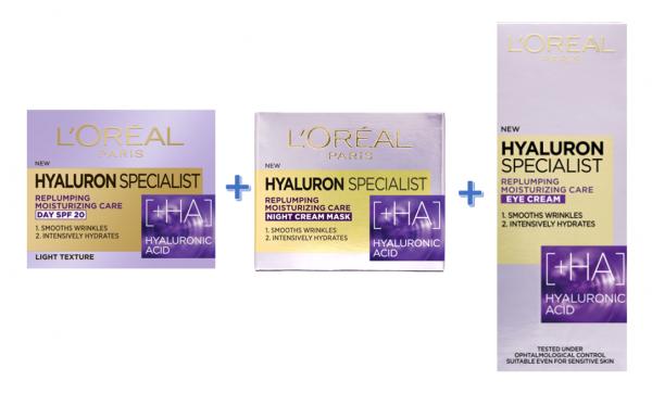 Pachet crema de zi + crema de noapte + crema de ochi L`Oreal Paris Hyaluron Specialist 0
