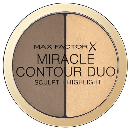 Paleta de conturare si iluminare Max Factor Miracle Contour Duo, Light/Medium, 11 g 0
