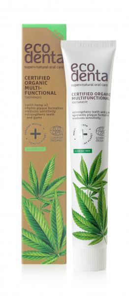 Pasta de dinti organica multifunctionala cu ulei de canepa Cosmos Organic Ecodenta 75 ml [1]