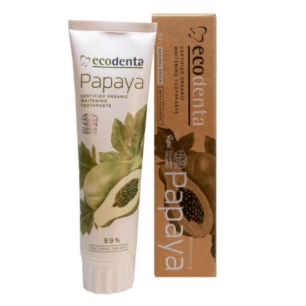Pasta de dinti pentru albire cu extract de papaya Cosmos Organic Ecodenta 100ml 1