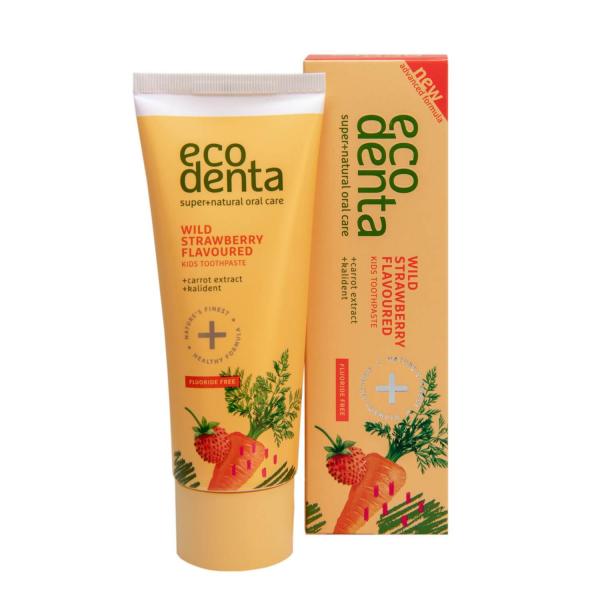 Pasta de dinti pentru copii cu aroma de capsuni si morcov Ecodenta 75ml 1