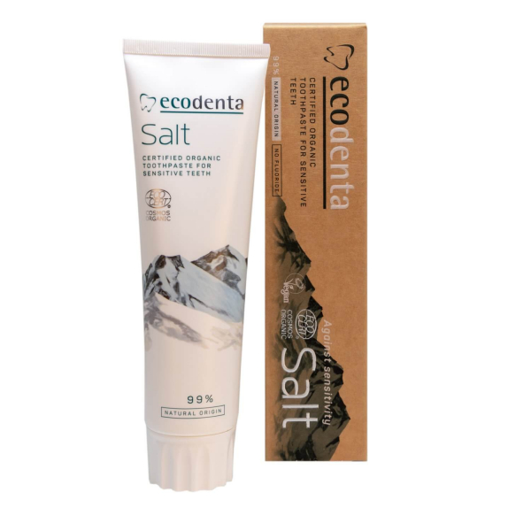 Pasta de dinti pentru dinti si gingii sensibile cu sare naturala Cosmos Organic Ecodenta 100ml 1