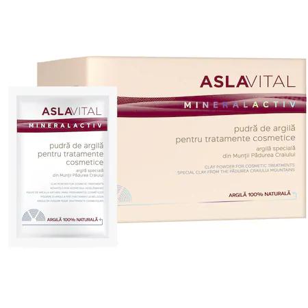 Pudra de argila Aslavital pentru tratamente cosmetice, 10 plicuri x 20 g 0