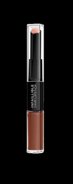 Ruj lichid rezistent la transfer L`Oreal Paris Infaillible 24H Lipstick 117 Perpetual Brown 0