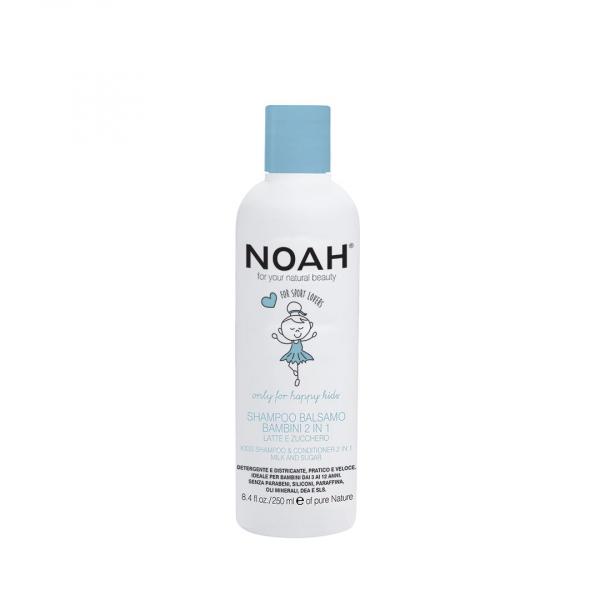 Sampon & balsam 2 in 1 cu lapte & zahar pentru copii Noah 250 ml [0]