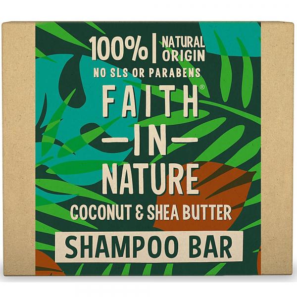Sampon natural solid, nutritiv, cu cocos si unt de shea, pentru par uscat, Faith in Nature, 85 gr 0