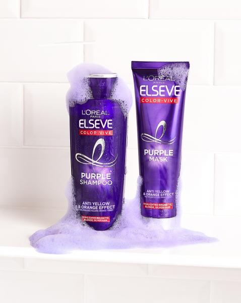 Set 2x Sampon pentru parul blond/gri Elseve Purple Shampoo 200 ml [1]