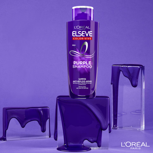 Set 2x Sampon pentru parul blond/gri Elseve Purple Shampoo 200 ml [4]