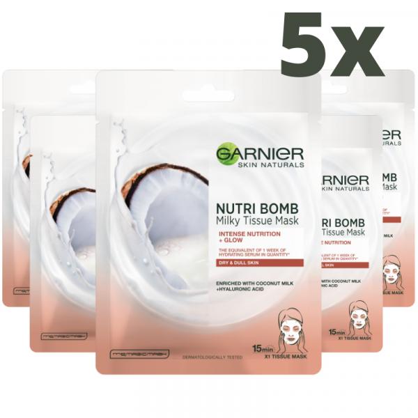 Pachet 5x Masca servetel cu lapte de cocos si acid hialuronic Garnier pentru nutritie intensa si iluminare, 28g [0]