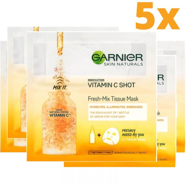 Set 5x Masca servetel Garnier Fresh Mix cu vitamina C, pentru luminozitate [0]