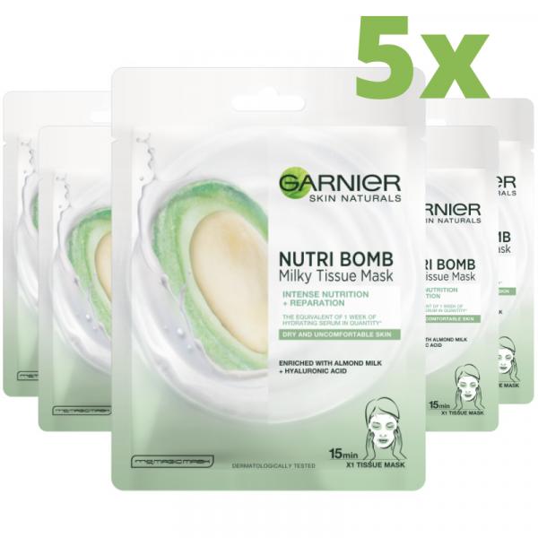 Pachet 5x Masca servetel Nutribomb Garnier cu lapte de migdale si acid hialuronic pentru nutritie intensa si reparare, 28g 0