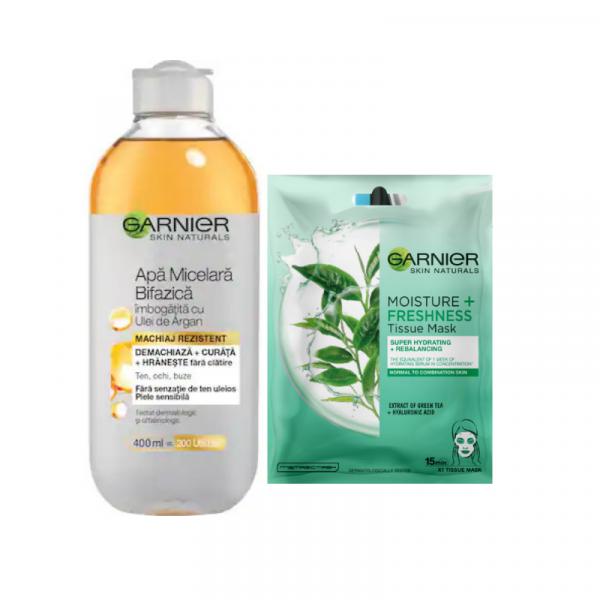 Set Apa micelara bifazica cu ulei de Argan, 400ml + Masca Servetel Garnier Moisture+ cu ceai verde [0]