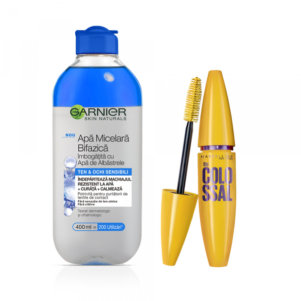 Set Garnier Skin Naturals Apa micelara bifazica cu apa de albastrele, 400 ml + Maybelline Mascara Volume Express Colossal Black, 10.7 ml [0]