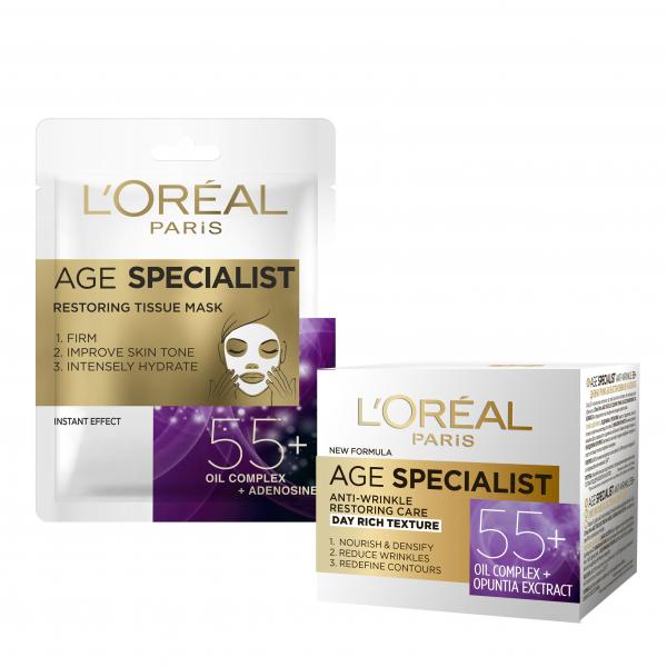 Set L'Oreal Paris Crema de zi Age Specialist 55+, 50 ml + Masca servetel Age Specialist 55+ pentru regenerare [0]